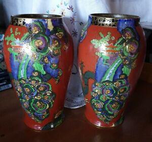 Crown Devon Dragon Vase Pair Orange 19cm high