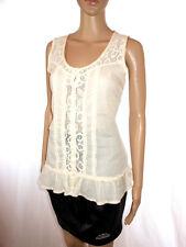 PIMKIE Womens Retro Ivory Ruffle Crochet Lace Embroidery Vtg Look Top sz S AL8
