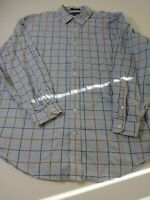 Daniel Cremieux Mens Shirt Size 2XL XXL Blue Check Long Sleeve Button Front