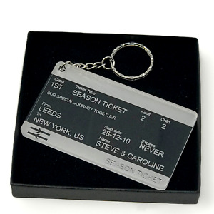 Personalised Valentines keyring, train ticket style, fantastic gift, unique