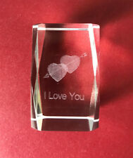 3D - I Love You - Laser Etched Crystal Art Glass Paperweight