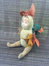 """Htf Adorable Antique Celluloid Child Face 11"""" Mohair Jointed Rooster Doll"""
