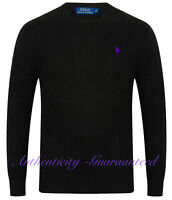 Ralph Lauren Men's Crew Neck Cable Knit Cotton Jumper Black S-XXL RRP £119 SALE!
