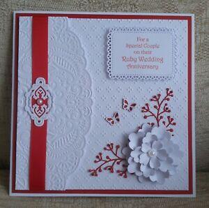 "Handmade 40th Wedding Anniversary Card - Ruby - Flower/Butterflies - 8x8"""