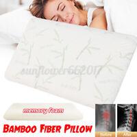 Memory Foam Pillow Bamboo Fiber Orthopedic Cervical Neck Pain Relief  *
