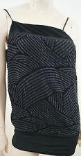 ARMANI EXCHANGE Black Velvet & Silver Sheer Sleeveless Open Back Strappy Top S