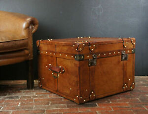 English Handmade Tan Leather Vintage Inspired Coffee Table Trunk ZA15