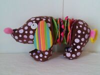 Alex Jr. Baby Plush Stuffed Toy Dog Crinkle Rattle Brown Velour Puppy stretchy