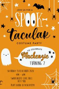 Personalised Halloween Spooktacular Birthday Party Invites Inc Envelopes HW71