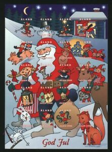 Aland. Christmas Sheet 1998. MNH  Unfolded. Self-Adhesive. Santa,Mouse,Rabbit