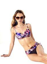 NWT! Badgley Mischka Camila Floral Print Halter Top Bikini Two Piece $142, Sz 10