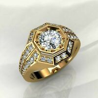 2.10 Ct Round Brilliant Cut Diamond 14K Yellow Gold Over Solid Men's Pinky Ring