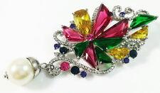 USA BROOCH using Swarovski Crystal PIN Wedding Bridal Multi-Color Pearl LARGE
