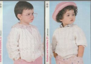 Knitting Patterns (2)Baby's & Toddlers. Cable Cardigan & Cable Sweater with Ragl