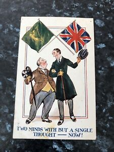 WW1 The Green Harp Flag Of Ireland & The Union Jack Flag Patriotic Postcard 1916