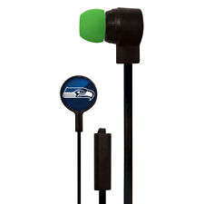 SEATTLE SEAHAWKS NFL STEREO EARBUDS EARPHONES WITH HANDS-FREE MICROPHONE