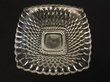 """6.5"""" INCH PRESSED GLASS ROUNDED SQUARE DISH-INCREASING SIZED DIAMOND PATTERN"""