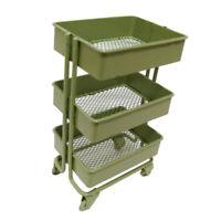 1/12 Mini 3 Layer Storage Shelf Display Rack w/ 4 Wheels Dollhouse Kitchen Green