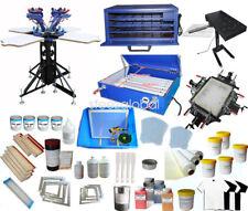 4 Color Full Set Silk Screen Printing Kit Press Printer & Flash Dryer Supplies
