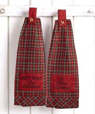 Set of 2 Button Loop Kitchen Towels Tartan Red Plaid Country Christmas Cooking