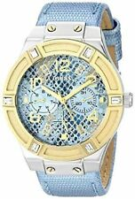Guess Women's U0289L2 Ice Blue Python Print Multifunction Watch New