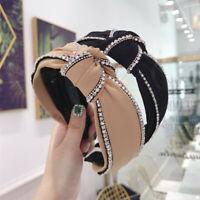 Ladies Crystal Tie Headband Hairband Knot Wide Alice Hair Band Hoop Accessories