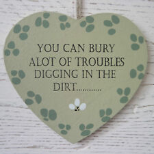 Shabby Rustic Chic Green Wooden Heart I Love My Garden Plaque Bury Trouble Sign