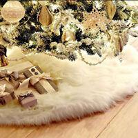 Jupe d'Arbre Noël Tapis Sol Couverture Longue Neige Peluche Party Decoration