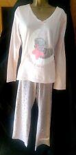 M&s Soft Size 12 Pyjamas Tatty Teddy Pink PJs Ladies Loungewear 100 Cotton