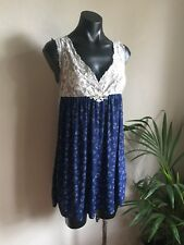 Peter Alexander Slip Dress Size S Blue With White Hearts And Lace Trim Sleepwear