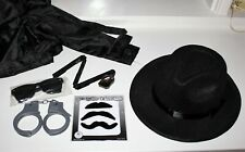 Spy Gear 6pc Lot Trenchcoat, Hat, Mustaches, Spy Mirror, Glasses, Handcuffs