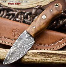 Custom Handmade Damascus Hunting Skinning Blade Hunter Camping Full Tang Knife