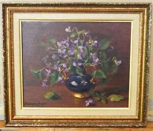 """.Late 20th/C Still Life """"Cascade of Violets""""  by Florent Sichet (1918-2014)"""