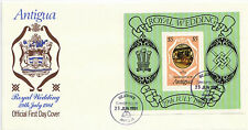ANTIGUA 23 JUNE 1981 ROYAL WEDDING MINIATURE SHEET ON FIRST DAY COVER