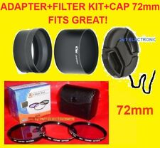 CAMERA LENS ADAPTER+FILTER KIT+CAP 72mm for FUJI S3380HD S3380 HD FinePix 72 mm