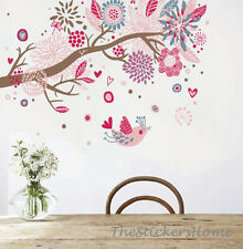Huge Pink Blossom Flowers&Birds Wall Sticker Vinyl Art Decal Reusable UK Stock