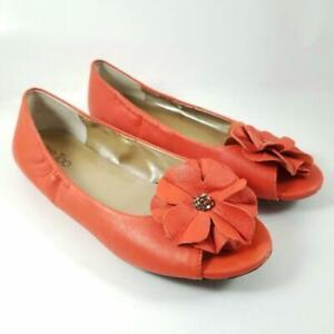 Me Too Leigh Orange Leather Ballet Flats Flower Open Peep Toe Women 7.5M Slip On