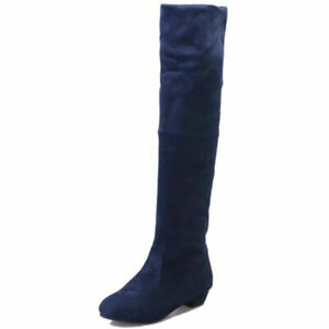 Women Stretchy Slim Lace Up Over the Knee Thigh High Combat Heel Boots Shoes Sz