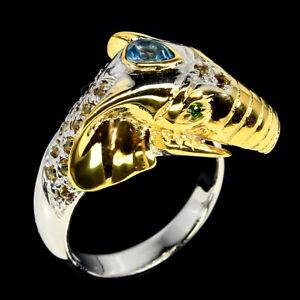 Pear Sky Blue Topaz 5x4mm Sapphire Diamond Cut Gems 925 Silver Elephant Ring 9