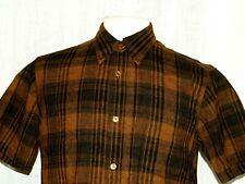 Vintage Pendleton Virgin Wool Brown Plaid Short Sleeve Shirt men`s M Made in Usa