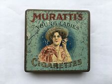 CWW1 VINTAGE MURATTI'S 20 SIZE YOUNG LADIES GOLD TIPPED CIGARETTES TIN