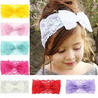 7PCS Baby Kids Girls Toddler Lace Bow Hairband Stretch Knot Head Band Headband