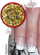 Nail-Art GLITTER STARS MINI Sterne 2mm  Einleger gold/holo Weihnachten Xmas
