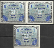1944 Germany 1 Mark Allied Millitary Currency 3 Consecutive XF Rare