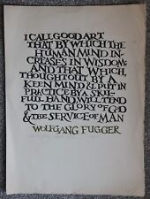 Artist Elliot Offner 1975 Signed Artists Proof Typography Wolfgang Fugger Quote
