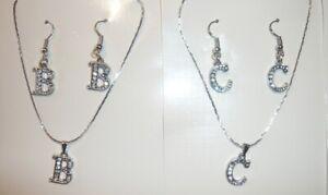 Halskette und Ohrringe Set m. Strass Buchstaben Anhänger silbern farbig