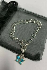 Silver Charm Bracelets with Butterfly Dangle Gem Charms - Assorted Colours
