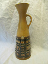 LAPID Israel Pottery Mid Century Hand Painted Ewer Pitcher Tan Brown Green