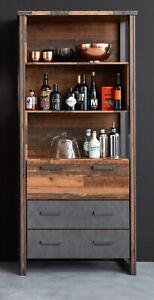 Hochschrank Used Wood grau Barschrank Regalschrank Vintage Retro Prime 89x212 cm