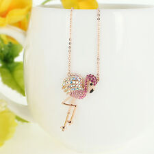 Flamingo Bird Animal Pink Austrian Crystal Necklace Pendant Rose Gold GP Gift